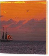 Sailing Boat At Sunset Wood Print