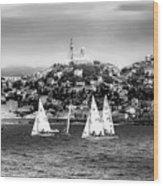 Sailing Boat  Black-and-white Wood Print