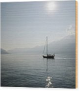Sailing Boat In Alpine Lake Wood Print by Mats Silvan