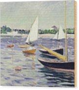 Sailing Boats At Argenteuil Wood Print