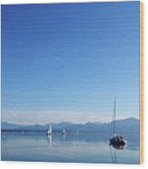 Sailing Boats In Chiemsee Lake In Germany Wood Print