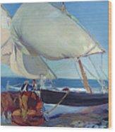 Sailing Boats Wood Print by Joaquin Sorolla y Bastida