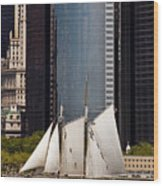 Sailing By Downtown Wood Print