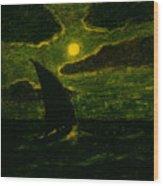 Sailing By Moonlight Wood Print