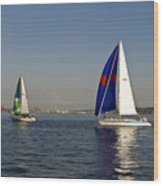 Sailing By Mt Rainier Wood Print