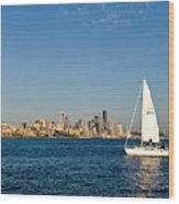 Sailing By Seattle Wood Print