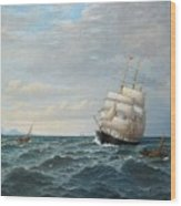 Sailing By The Coas Wood Print