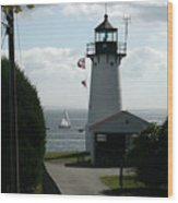 Sailing By The Lighthouse Wood Print