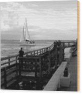 Sailing By The Old Pier Wood Print