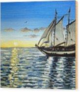 Sailing Day Sunset Wood Print