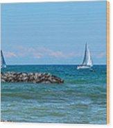 Sailing Days On Lake Erie Panorama Wood Print by Randy Steele
