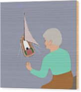 Sailing Grandma Wood Print