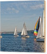 Sailing Group Seattle Wood Print