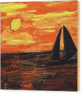 Sailing Home At Sunset Wood Print