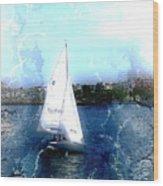 Sailing In Boston Harbor Wood Print
