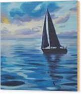 Sailing In Cerulean Blue Wood Print
