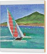 Sailing In Hawaii Wood Print