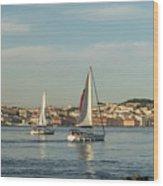 Sailing In Lisbon Portugal Wood Print