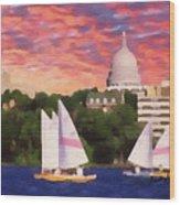 Sailing In Madison Wood Print