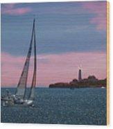 Sailing In Portland Maine Wood Print
