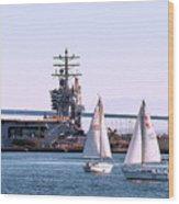 Sailing In San Deigo Wood Print
