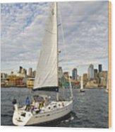 Sailing In Seattle Wood Print