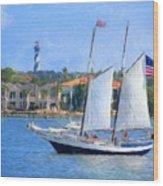 Sailing In St. Augustine Wood Print