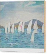 Sailing Lake Washington Wood Print