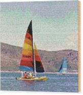 Sailing On A Utah Lake Wood Print