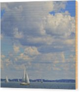 Sailing On Chiemsee Lake Wood Print