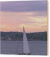 Sailing On Puget Sound At Sunset Wood Print