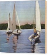 Sailing On The Charles Wood Print by Lenore Gaudet