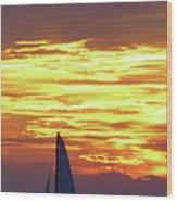 Sailing Past The Sunset Wood Print