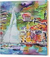 Sailing Past Vernazza Italy Wood Print