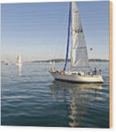 Sailing Reflection Wood Print