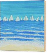 Sailing Regatta White Wood Print