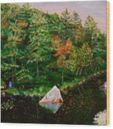 Sailing Rock Wood Print