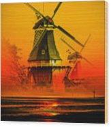 Sailing Romance Windmills Wood Print
