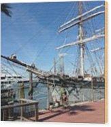 Sailing Ship At Galveston Wood Print