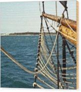 Sailing Ship Prow On The Caribbean Wood Print
