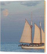 Sailing Ship With Moon Wood Print