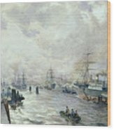 Sailing Ships In The Port Of Hamburg Wood Print