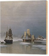 Sailing Ships On Frozen Fjord Wood Print