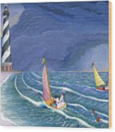 Sailing Snowmen Wood Print by Thomas Griffin