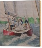 Sailing Teamwork Wood Print