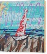 Sailing The Coast Abstract Wood Print