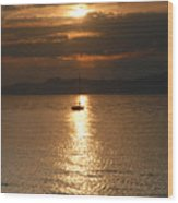 Sailing The Great Salt Lake At Sunset Wood Print