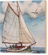 Sailing Through Open Waters Wood Print