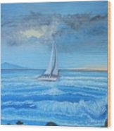 Sailing Through The Storm Wood Print