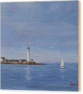 Sailing To Boston Light Wood Print